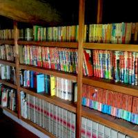 写真:おぎじま図書館の二階。本がずらり