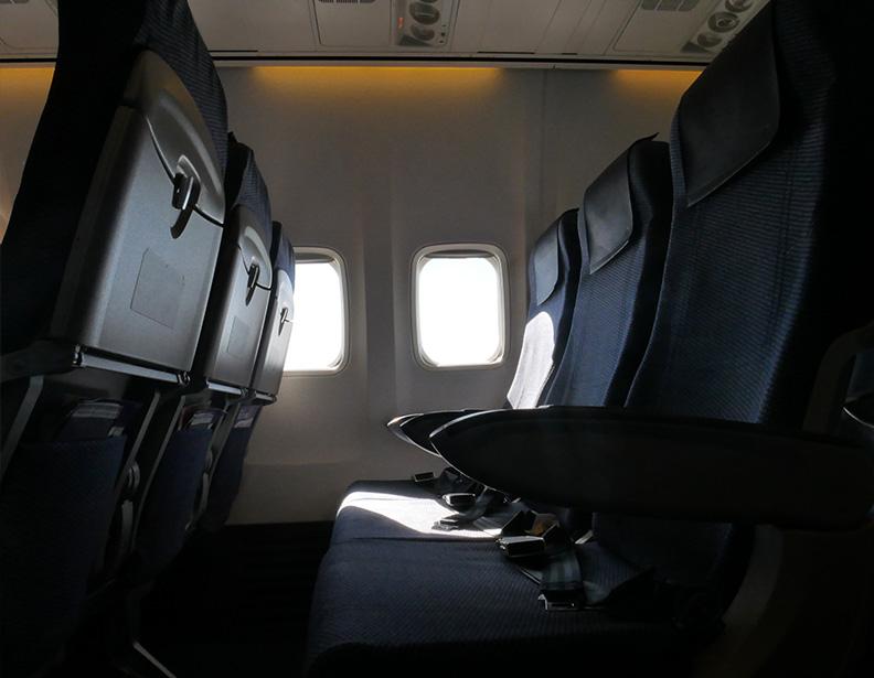 写真:飛行機内